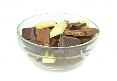 chocolate in a glass bowl