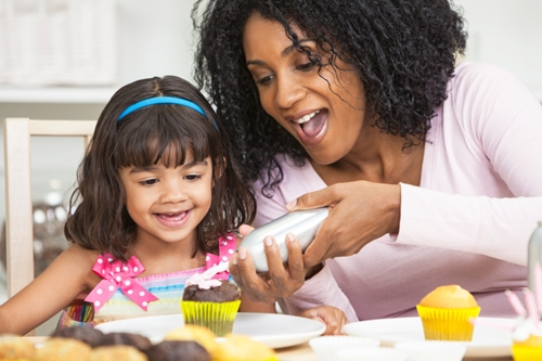 African American Mother Mixed Race Daughter Frosting Icing Cakes