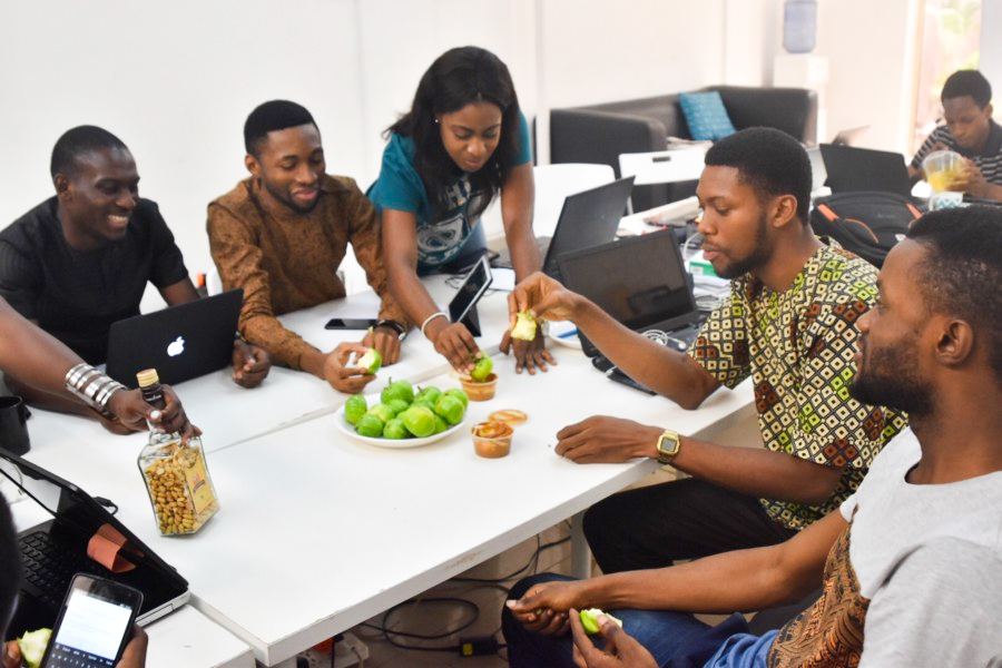 Cregital Team and Diet234 Founder share some garden eggs and groundnuts