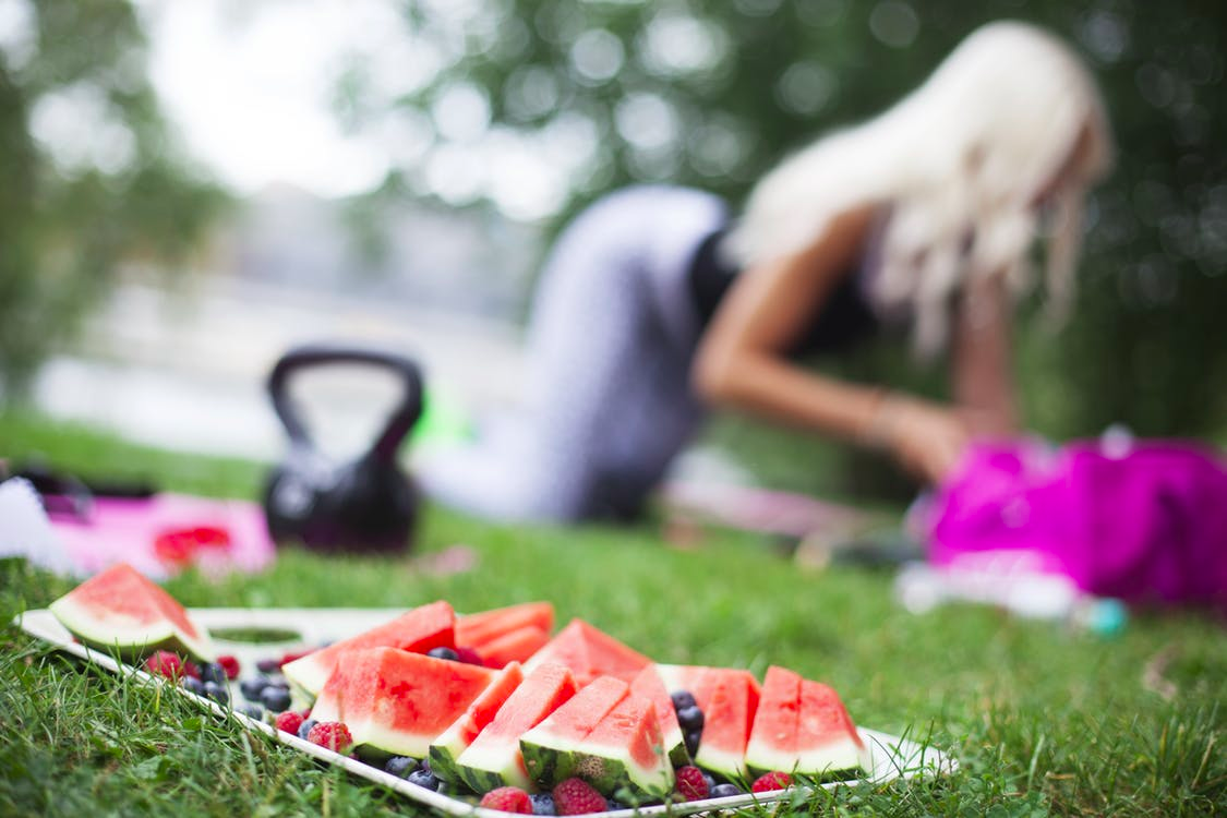 Fruits in exercise for healthy lifestyle